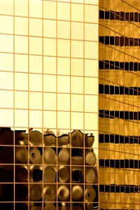 Merely Mirrored Downtown Lexington, KY. Olympus OM-4, Kodak Portra 400