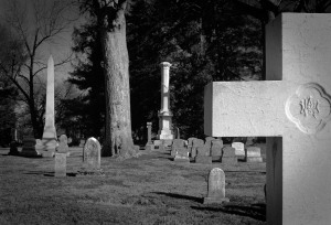 Vertical Monuments Lexington Cemetery Olympus OM-4, Kodak Portra 400